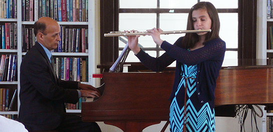 Flute student performing