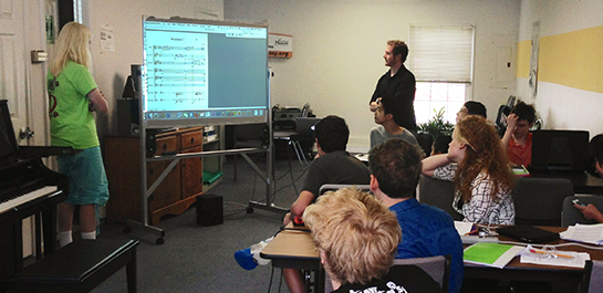 Composition students at summer camp